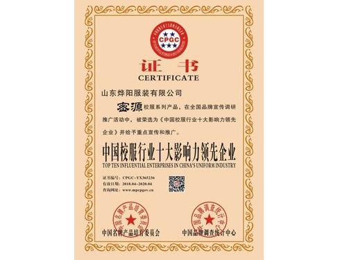 领先企业证书